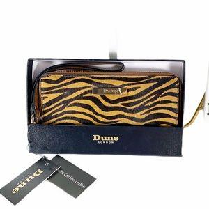 Dune NWT in box Wristlet Genuine Calf Hair Tiger